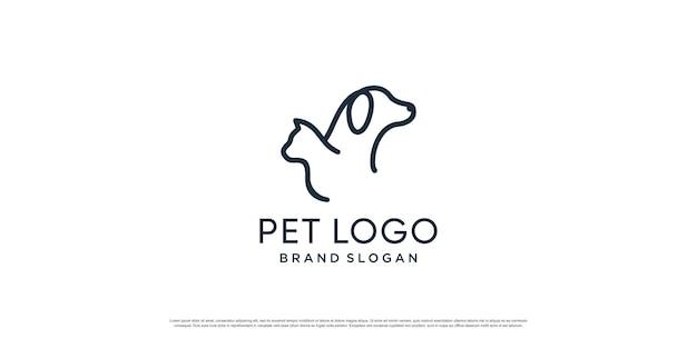 Logotipo do animal de estimação com elemento criativo com objeto cão e gato premium vector parte 3