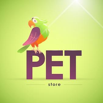 Logotipo do animal de estimação com personagem de papagaio. ilustração.