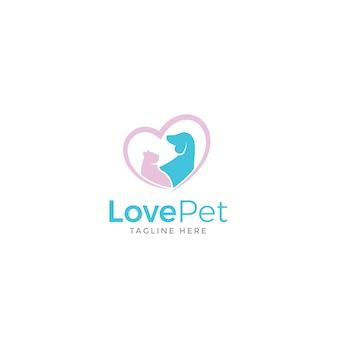 Logotipo do animal de estimação do amor