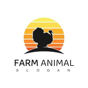 Logotipo do animal de fazenda com o símbolo do peru