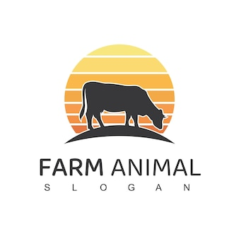 Logotipo do animal de fazenda vaca símbolo da fazenda