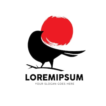 Logotipo do animal pássaro preto