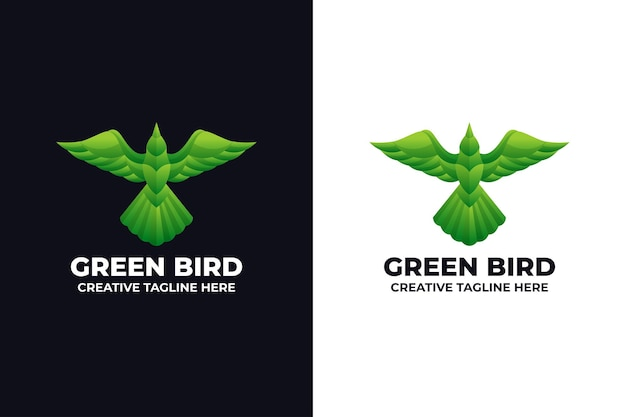 Logotipo do animal pássaro verde
