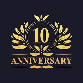 Logotipo do aniversário de 10 anos, celebração do design luxuoso do 10º aniversário.
