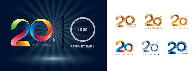 Logotipo do aniversário de 20 anos de comemoração, logotipo de fitas de torção.