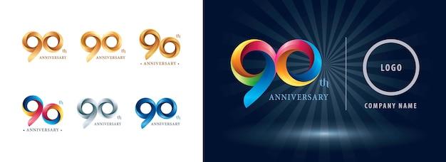 Logotipo do aniversário de noventa anos, letras numéricas estilizadas de origami, logotipo de fitas de torção