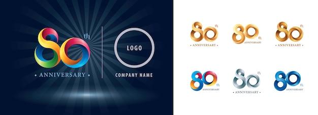 Logotipo do aniversário de oitenta anos, letras numéricas estilizadas de origami, logotipo de fitas torcidas