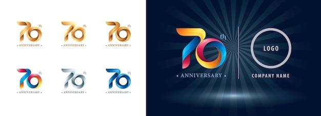 Logotipo do aniversário de setenta anos, letras numéricas estilizadas de origami, logotipo de fitas torcidas