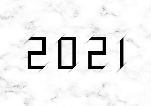 Logotipo do ano com fundo de mármore cinza e branco.