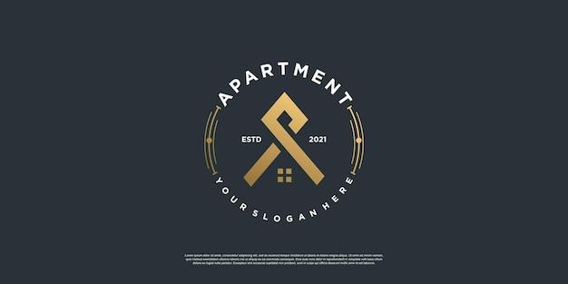 Logotipo do apartamento com estilo de emblema premium vector