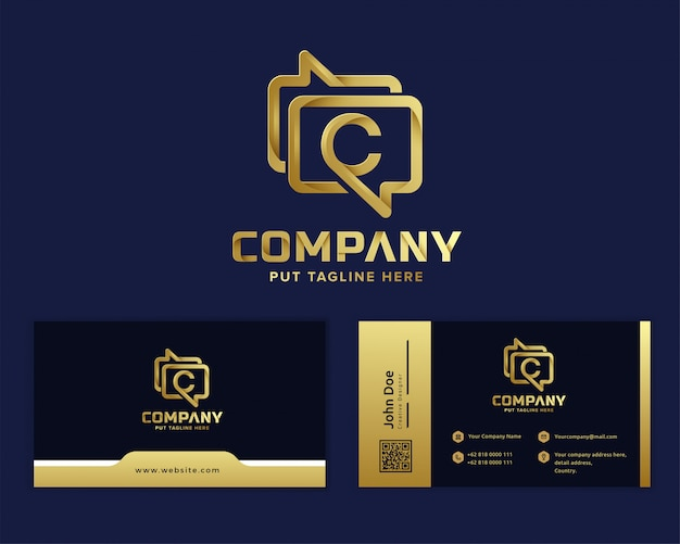 Logotipo do aplicativo de mensagens de luxo premium para empresa