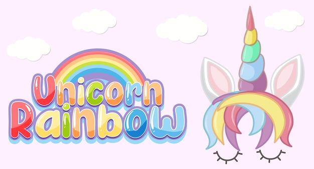 Logotipo do arco-íris do unicórnio em cor pastel com um unicórnio fofo