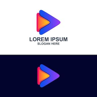 Logotipo do arrow media play, 3d colorido