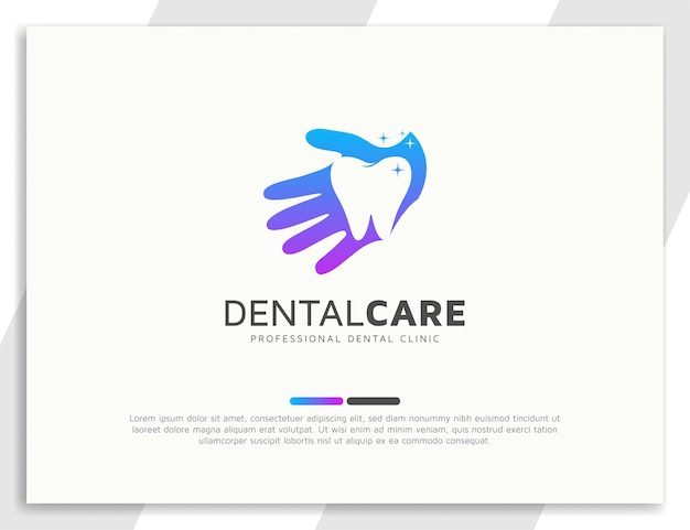 Logotipo do atendimento odontológico com ilustração da mão