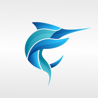 Logotipo do atum. modelo, ilustração