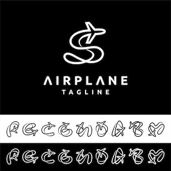 Logotipo do avião com conceito de letras