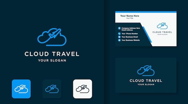 Logotipo do avião em nuvem e design de cartão de visita