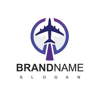 Logotipo do avião, tour e símbolo de viagem