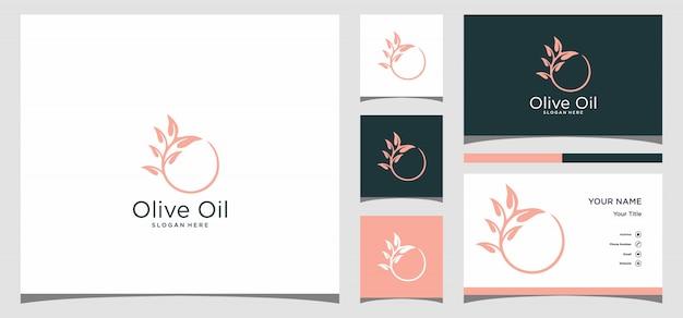 Logotipo do azeite com modelo de cartão de visita