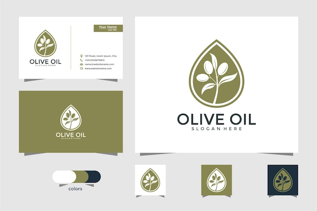Logotipo do azeite e modelo de design de cartão de visita, gota, marca, óleo, beleza, verde, ícone, saúde