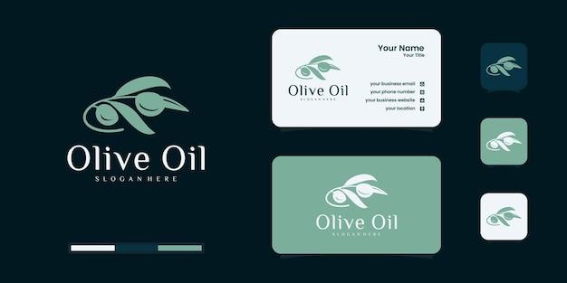 Logotipo do azeite e modelo de design de cartão de visita, marca, óleo, beleza, verde, ícone, saúde