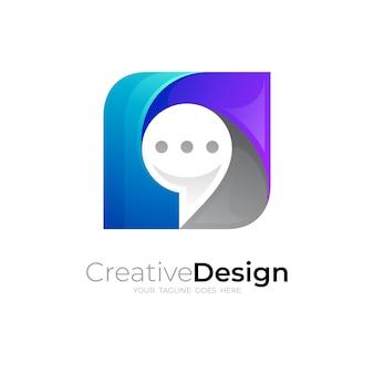 Logotipo do bate-papo com ilustração quadrada e logotipos coloridos em 3d