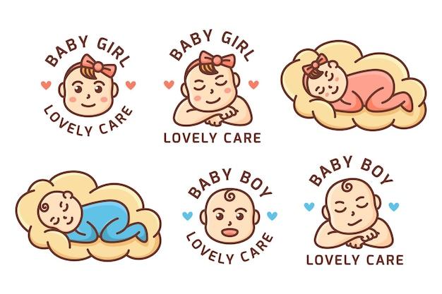 Logotipo do bebê fofo sono