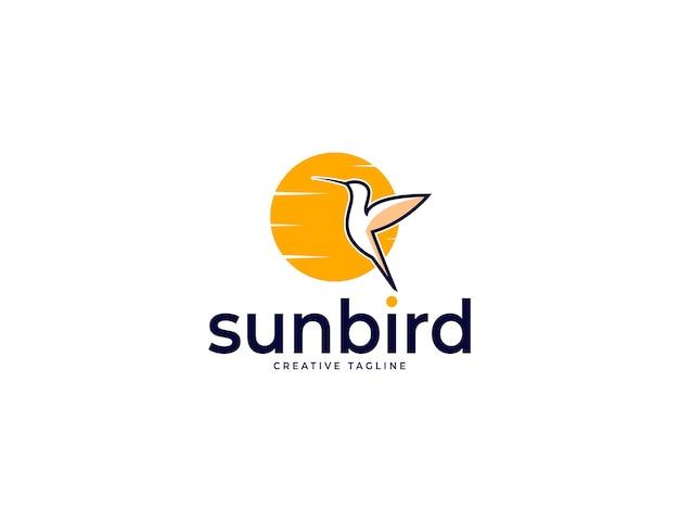 Logotipo do beija-flor-pôr-do-sol elegante com ilustração do sol
