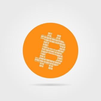 Logotipo do bitcoin laranja com sombra. conceito de peering, pagamento privado, troca fechada, um código zero, p2p, criptografia, virtual. ilustração em vetor design de marca moderna tendência de estilo plano no fundo branco