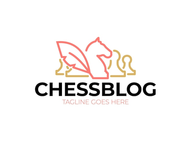 Logotipo do blog de xadrez. cavaleiros e peões de ícone vintage