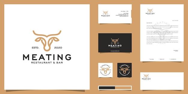 Logotipo do boi bovino e design de identidade de marca