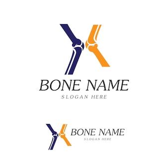 Logotipo do bone plus. ícone de osso saudável. modelo de logotipo de proteção para ossos e articulações do joelho. design de logotipo plano médico. vetor da saúde do corpo humano. símbolo do emblema