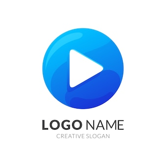 Logotipo do botão de reprodução, logotipo moderno em gradiente azul
