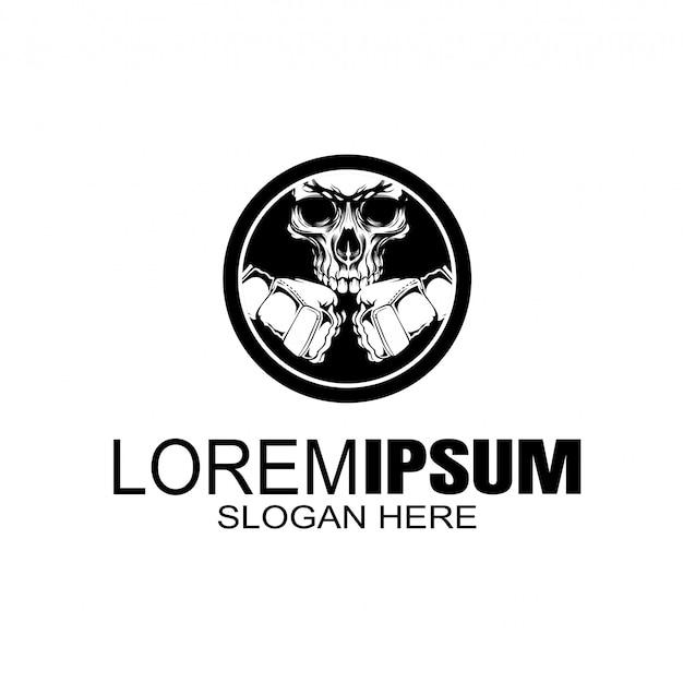 Logotipo do boxe do crânio creative logo