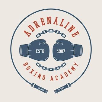 Logotipo do boxe e artes marciais, distintivo ou etiqueta em estilo vintage. ilustração vetorial