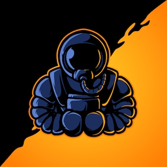 Logotipo do boxing astronaut e sport mascot
