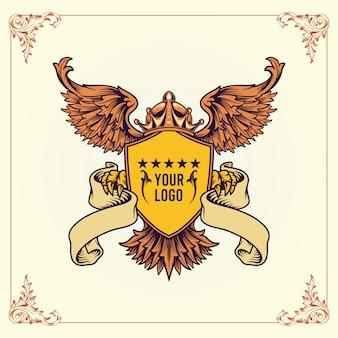 Logotipo do brasão de armas real, coroas aladas escudo vector