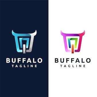 Logotipo do búfalo com conceito abstrato