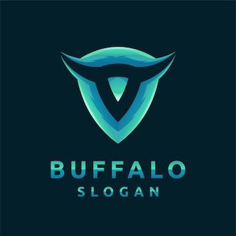Logotipo do búfalo com conceito de escudo