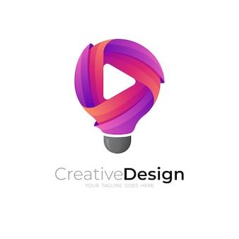 Logotipo do bulbo abstrato e tecnologia de design de jogo, estilo 3d