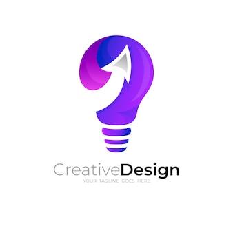 Logotipo do bulbo com desenho de seta, ícone colorido 3d