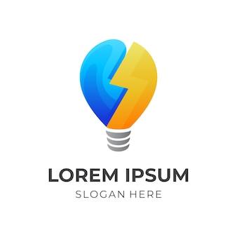 Logotipo do bulbo e modelo de design colorido