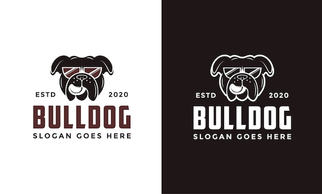 Logotipo do bulldog de óculos retrô vintage
