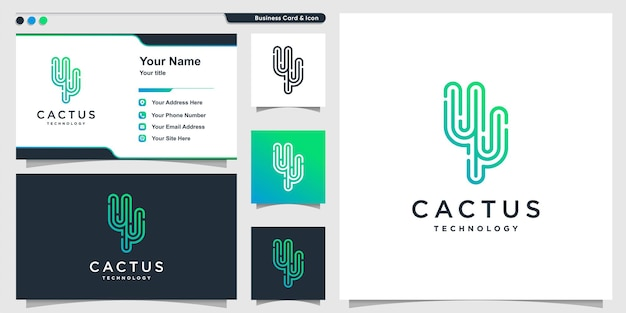 Logotipo do cacto com tecnologia moderna linha arte estilo premium vector