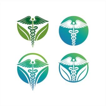 Logotipo do caduceu, ícone de ilustrações do caduceu, ícone de cuidados de saúde médico, cobra com o ícone da asa ico