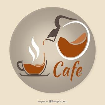 Logotipo do café artístico Vetor Premium