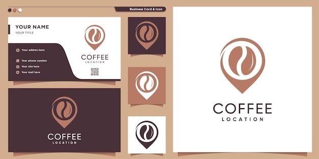 Logotipo do café com estilo de localização e modelo de cartão de visita