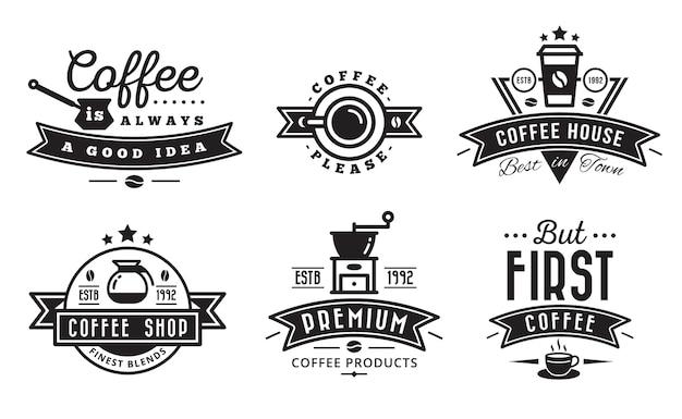 Logotipo do café crachá e etiqueta para café