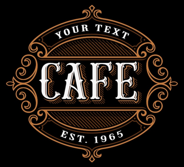 Logotipo do cafe. letras vintage de catering em fundo escuro. todos os objetos, texto estão em grupos separados.
