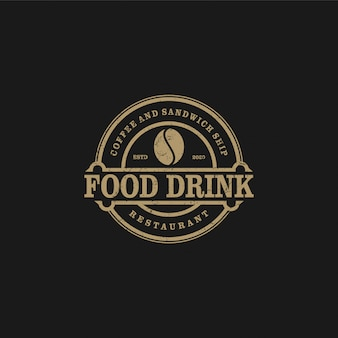 Logotipo do café para café resto e rótulo do produto, bebida de comida